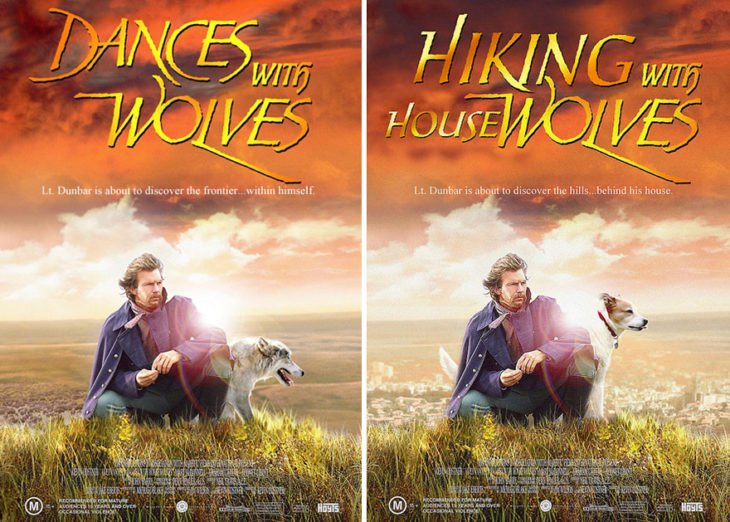 dance with wolves póster con perro como protagonista