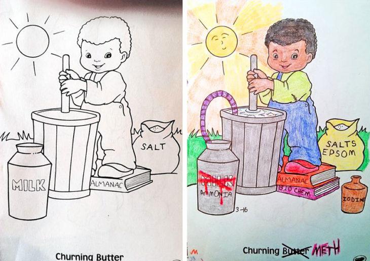 Dibujos coloreados por adultos niño cocinando met
