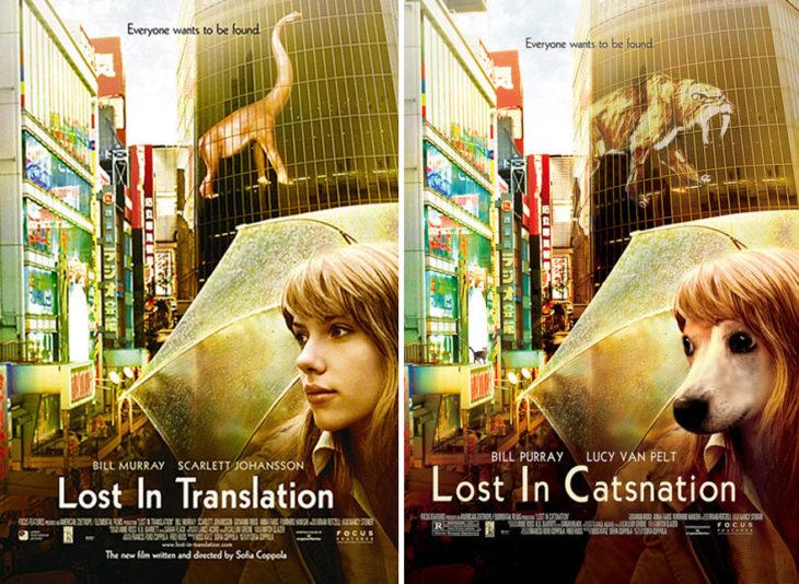 lost in traslation póster con perro como protagonista