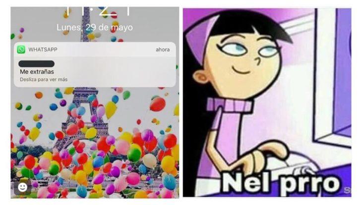 meme mensaje texto chico mujer caricatura computadora