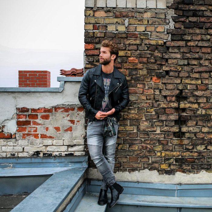 andre hamann chaqueta de cuero jeans