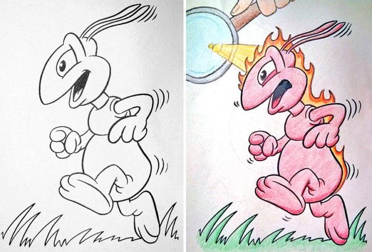 Dibujos coloreados por adultos hormiga quemandose