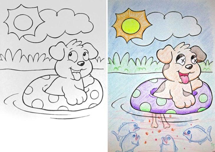 Dibujos coloreados por adultos perrito comido por pirañas