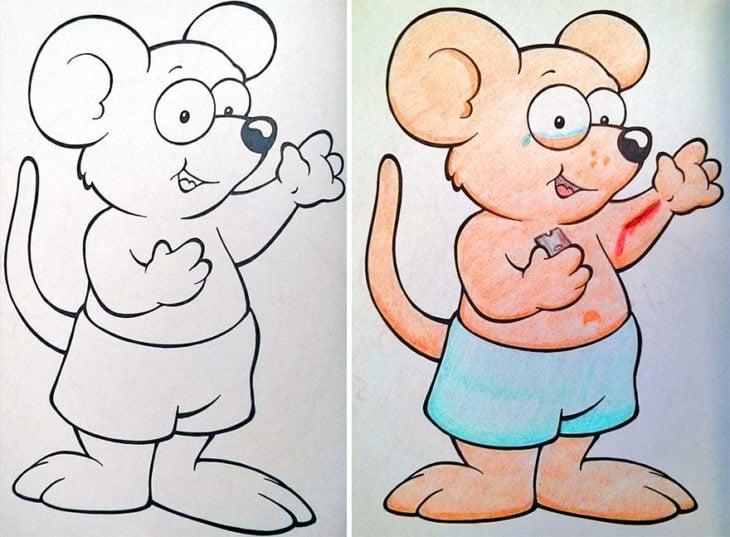 Dibujos coloreados por adultos ratón emo