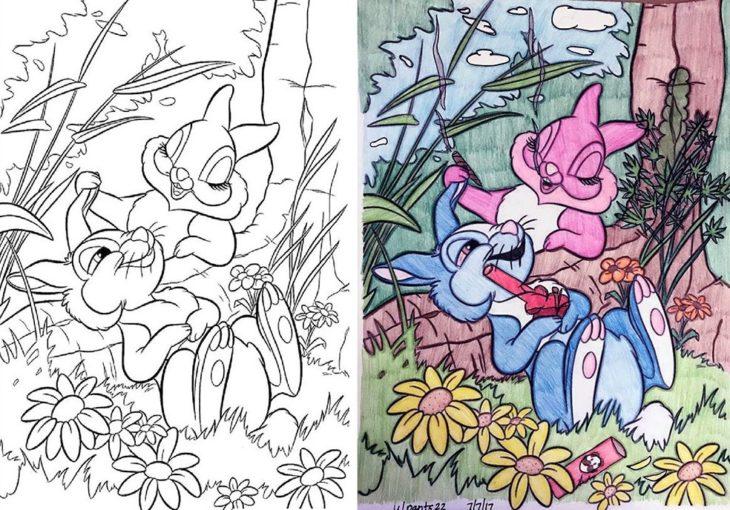Dibujos coloreados por adultos conejos cannabicos