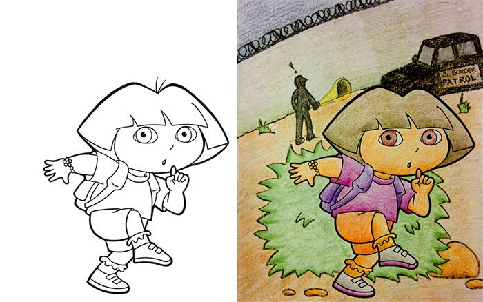 Dibujos coloreados por adultos Dora la robadora