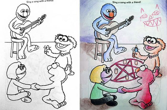 Dibujos coloreados por adultos muppets satanicos