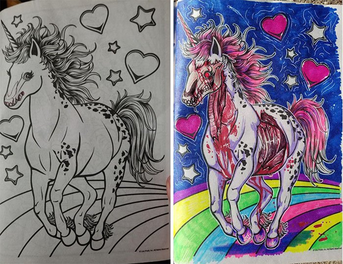 Dibujos coloreados por adultos unicornio zombie