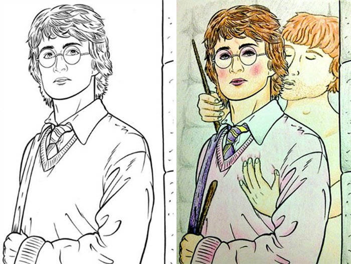 Dibujos coloreados por adultos harry potter y ron weasley