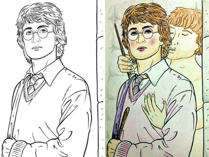 Dibujos coloreados por adultos harry potter y ron weasley
