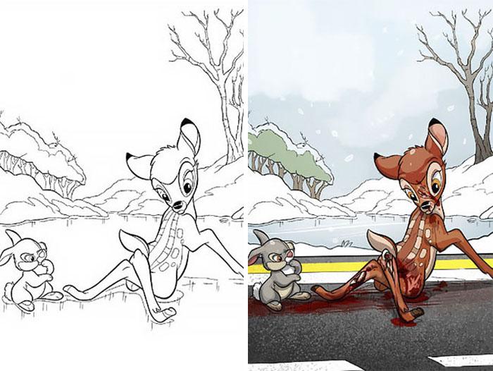 Dibujos coloreados por adultos bambi patas quebradas