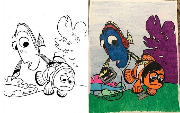 Dibujos coloreados por adultos buscando a emo