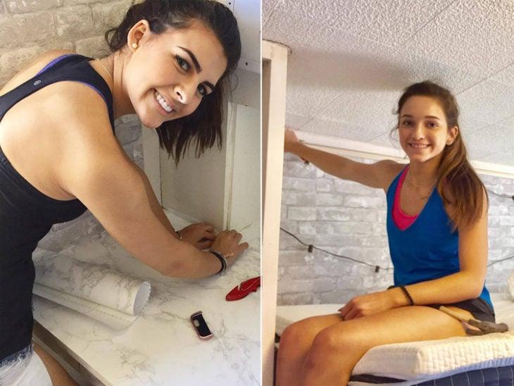 Chicas decidieron redecorar su habitación de Universidad