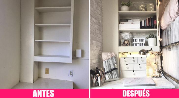 Antes y después de la decoración de una habitación de universidad