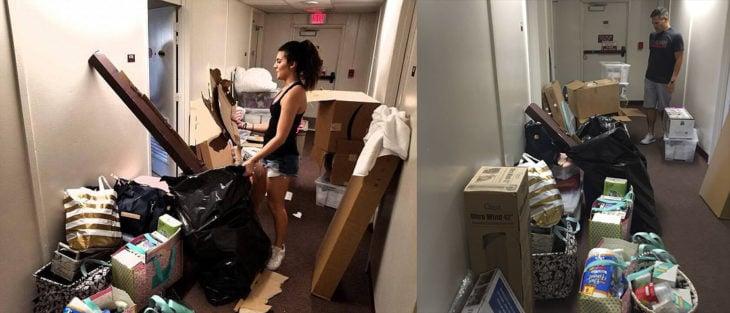 Chicas limpiando su habitación de Universidad