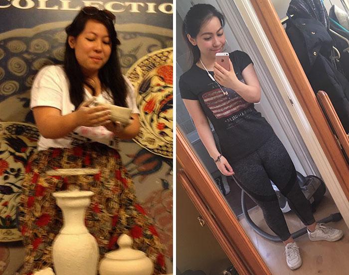 Chica que cambió sus hábitos alimenticios
