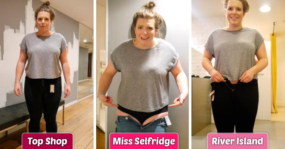 Chica prueba que las tallas de los pantalones varía de acuerdo a la marca