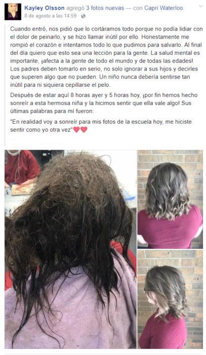 Publicación en facebook acerca del cambio de imagen que se le realizó a una chica con depresión