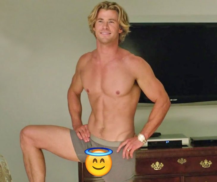 Chris Hemsworth en boxers verdes