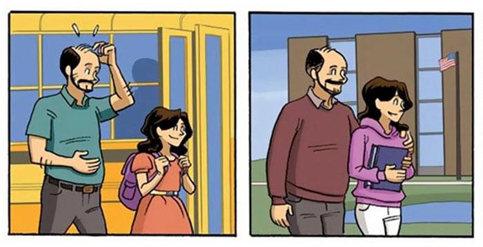 poadre llevando a su hija a la escuela