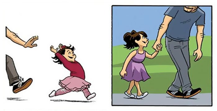 papá caminando junto a su hija
