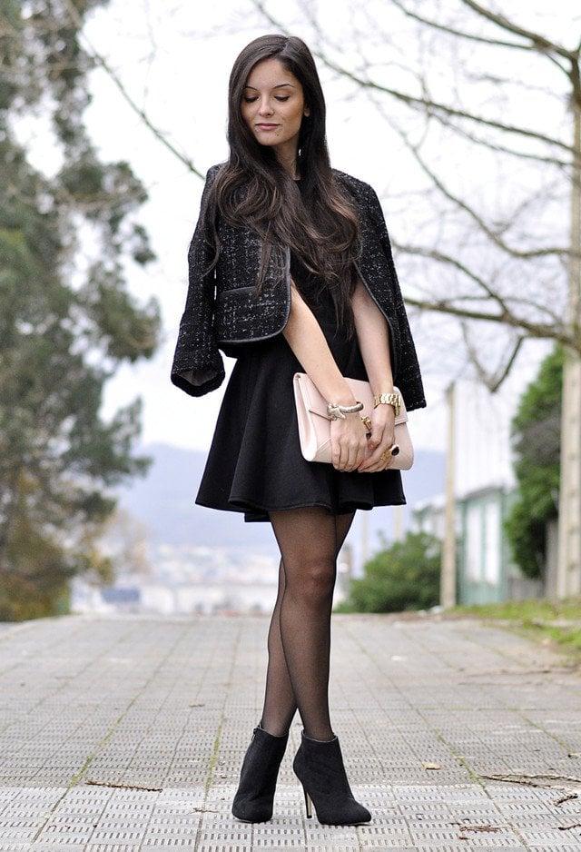 Vestidos formales con medias negras