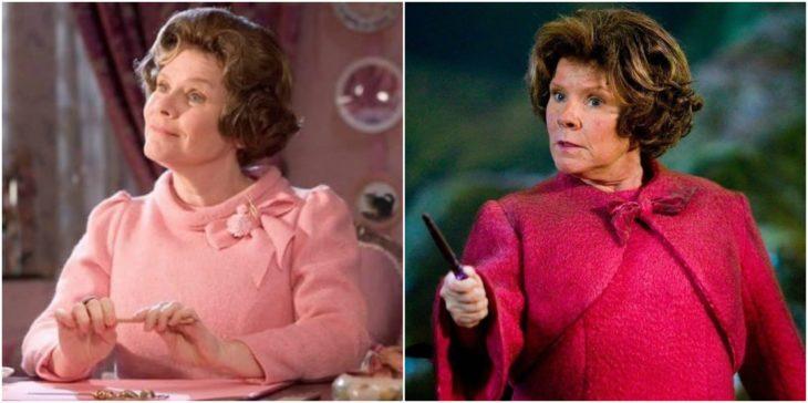 Señora con trajes de color rosa