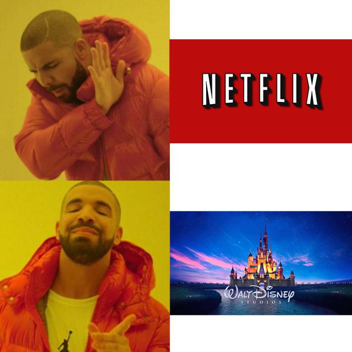 Meme drake acerca de netflix y disney