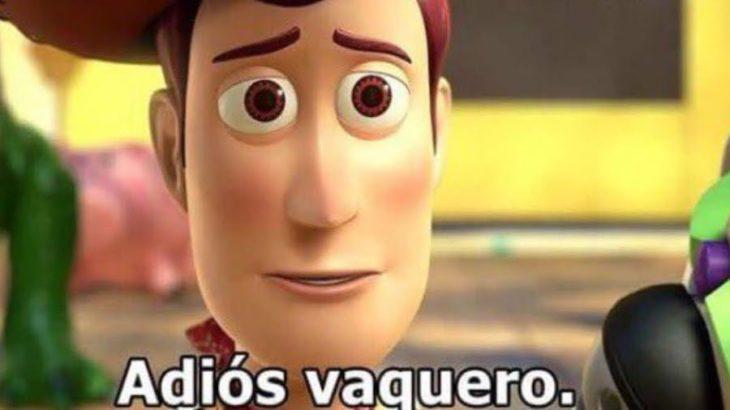 Meme de woody de la película toy story diciendo adiós vaquero