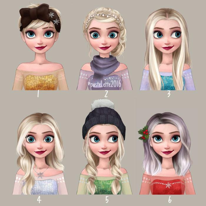 Elsa y sus estilos de cabello