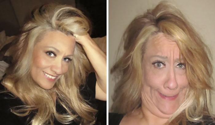 Chicas antes y después de hacer selfies extrañas