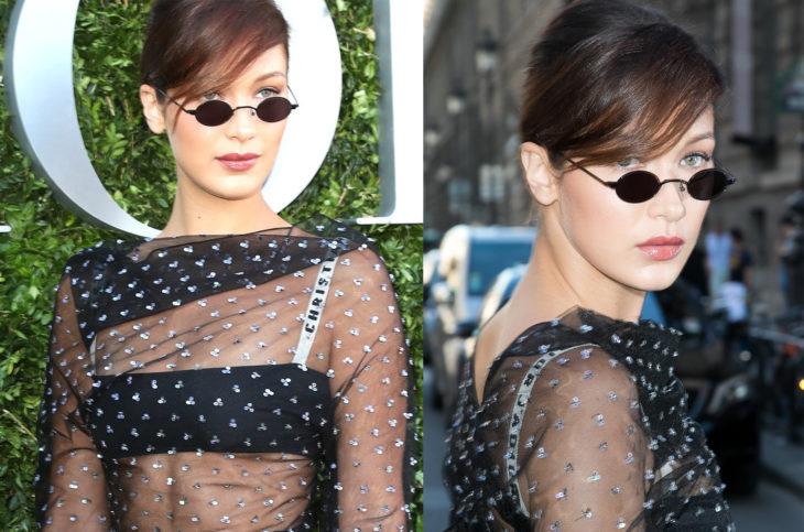 Bella Hadid usando unas tiny gafas durante la semana de la moda en paris