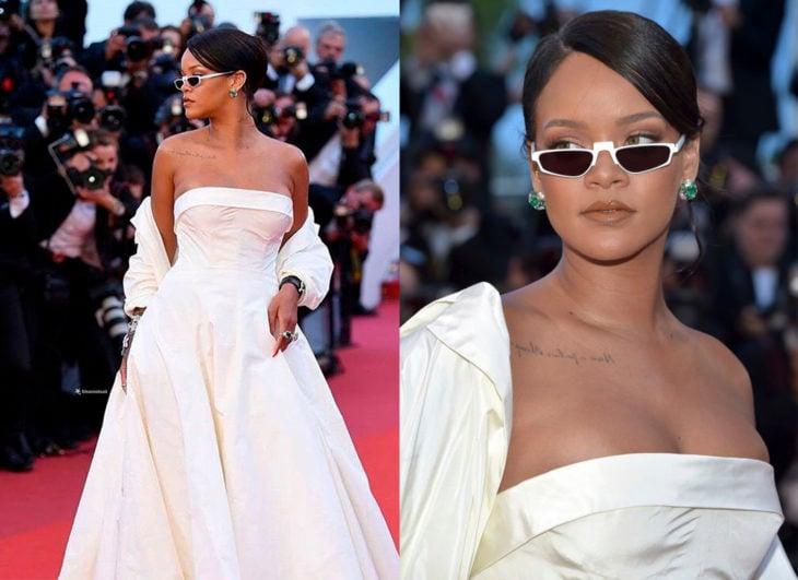 Rihanna usando unas gafas tyny en el festival de Canes