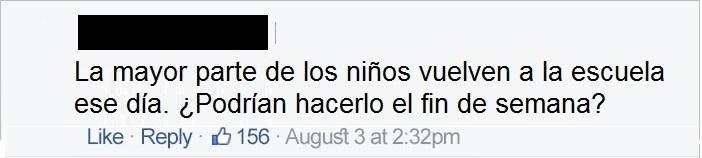 comentario en Facebook sobre eleclipse