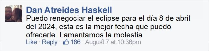 comentario en Facebook sobre el eclipse
