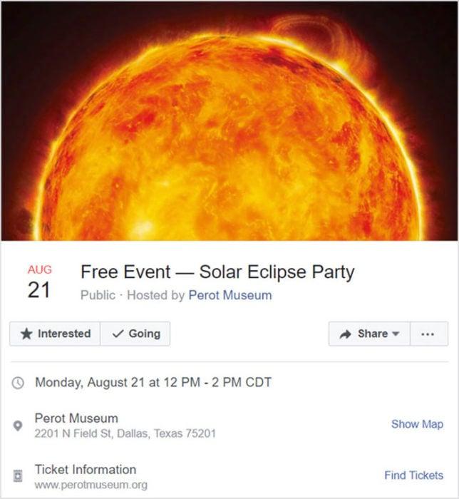 Invitación a evento de Facebook