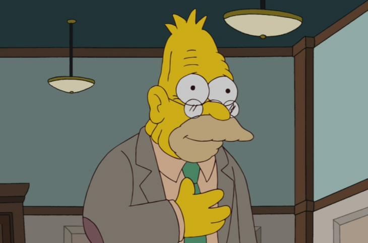 Abuelo Simpson con saco color café