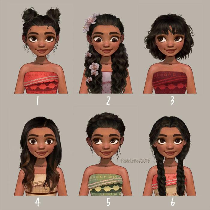 Moana y sus estilos de cabello