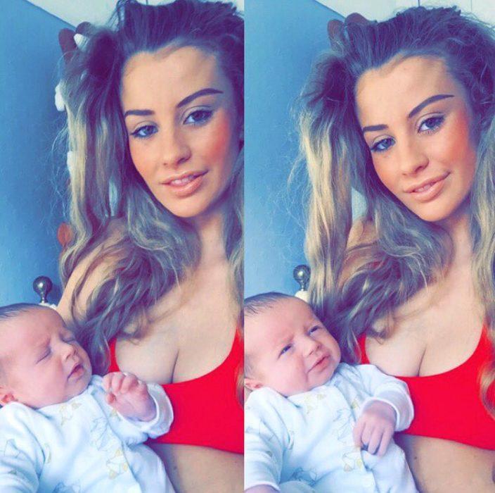 Modelo británica sosteniendo en brazos a su bebé