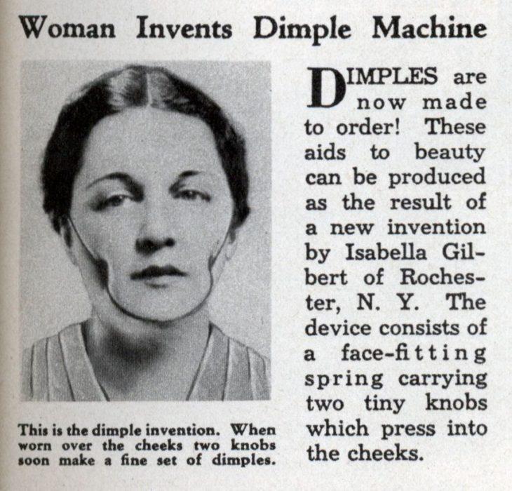 Mujer que inventó un aparato para hacerse hoyuelos en el siglo XX