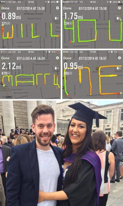 pareja de novios en graduación