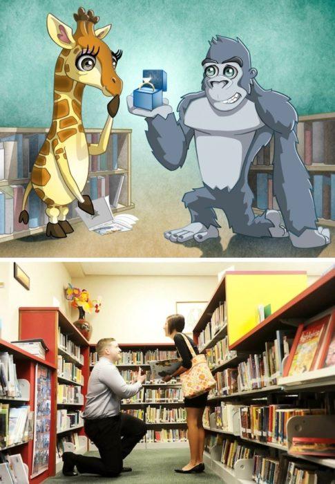 Pareja de novios en la biblioteca