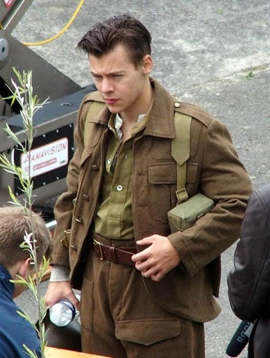 Harry Styles en el set de la película dunkerque