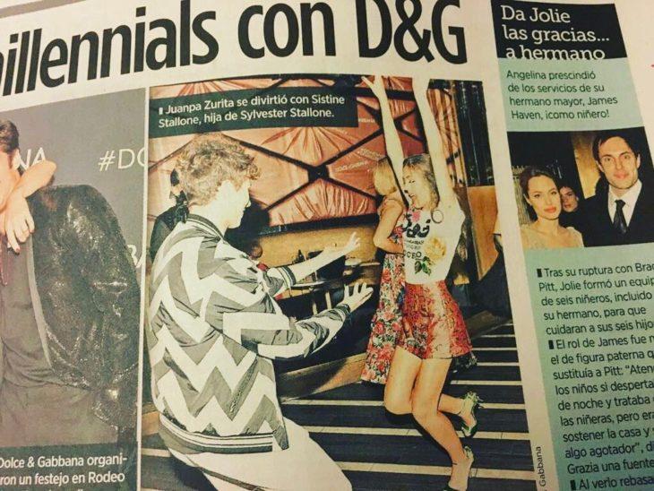 Juampa Zurita de fiesta con la hija de Sylvester Stallone