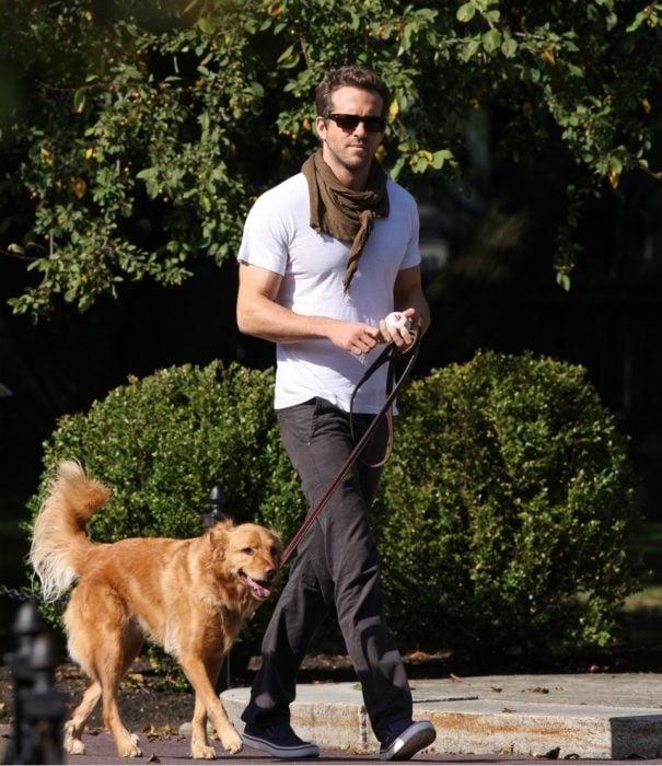 Ryan Reynolds paseando a su perro baxter