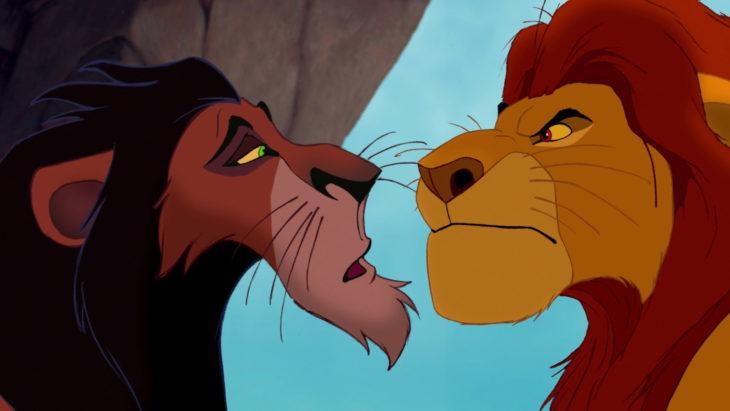 Scar y Mufasa de la película del rey león hablando