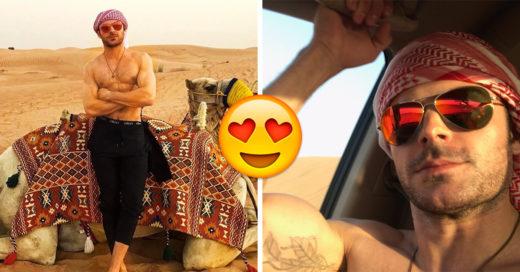 Zac Efron encendió el desierto de Dubái al pasearse sin camisa y mostrar su abdomen de acero