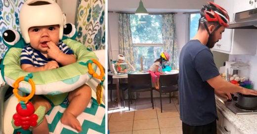 Este bebé necesita llevar casco; su familia hace lo mismo e Internet no puede con tanta ternura