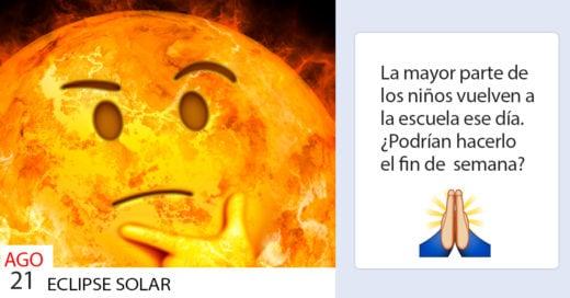Esta mamá acaba de pedir que reprogramen el eclipse solar; Internet le ha brindado su ayuda