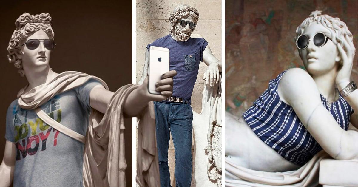 Esculturas clásicas vestidas como hipsters; realmente millennial